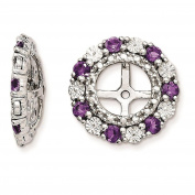 925 Sterling Silver Rhodium-plated Polished & Textured Amethyst Earring Jacket