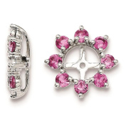 925 Sterling Silver Rhodium-plated Textured & Polished Created-Pink-Sapphire Earring Jacket
