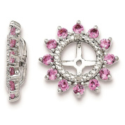 925 Sterling Silver Rhodium-plated Polished & Textured Diamond & Created-Pink-Sapphire Earring Jacket