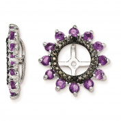 925 Sterling Silver Rhodium-plated Polished & Textured Amethyst & Black Sapphire Earring Jacket