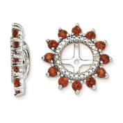 925 Sterling Silver Rhodium-plated Polished & Textured Diamond & Garnet Earring Jacket