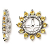 925 Sterling Silver Rhodium-plated Polished & Textured Diamond & Citrine Earring Jacket