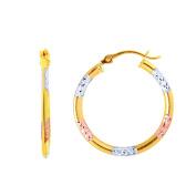 MCS Jewellery 14 Karat Gold Tri-Colour Hoop Earrings