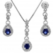 1/2 CT Genuine Sapphire & Diamond Sterling Silver Earring & Pendant Set w/46cm Chain