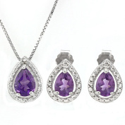 1 1/2 CT Amethyst & Diamond Sterling Silver Earring & Pendant Set w/46cm Chain