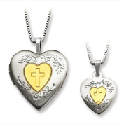 Sterling Silver Gold-plated Heart Locket and Pendant Set