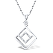 Diamond Pendant Necklace in Rhodium Plated 10k White Gold