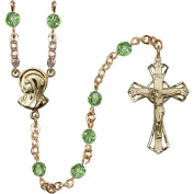14kt Yellow Gold Filled Rosary 5mm August Green beads Crucifix sz 1 1/4 x 3/4. Madonna medal charm