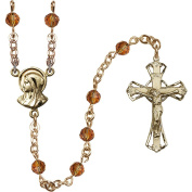14kt Yellow Gold Filled Rosary 5mm November Yellow beads Crucifix sz 1 1/4 x 3/4. Madonna medal charm