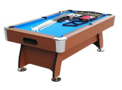 1.8m x 1m Brown and Blue Deluxe Billiard Pool and Snooker Game Table