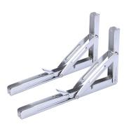 Amarine-made 2 PCS Heavy Duty Polished Stainless Steel Folding Shelf Bench Table Folding Shelf or Bracket, Max Load