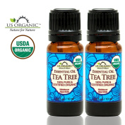 US Organic 100% Pure Tea Tree Essential Oil - USDA Certified Organic - 10 ml Pack of 2 - w/ Improved caps and droppers