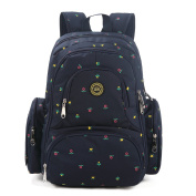 S-ZONE 16 Pockets Baby Nappy Bag Organiser Water Resistant Oxford Fabric Travel Backpack with Changing Pad and Stroller Straps Dark Blue Flower Print