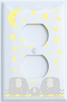 Yellow Elephant Outlet Switch Plate Covers with Yellow Moon and Stars / Elephant Nursery Decor with Grey and Yellow Chevrons (Outlet Cover)