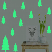 Christmas Tree Wall Decals Decorations Glow in the Dark, Feskin Window Wall Stickers for Xmas Party Kids Home Room Decor