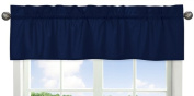 Navy Window Treatment Valance for Blue and Orange Stripes Bedding Collection