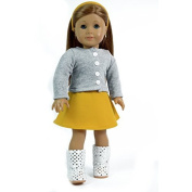 Precious Outfit for 46cm Dolls - Mustard Coloured Doll Skirt, Grey Sweater, and Matching Headband - Doll Cloth Fits American Girl Dolls - Cutest Doll Dress by The New York Doll Collection