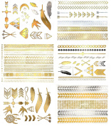 Premium Metallic Temporary Hair Tattoos - 75+ Contemporary Boho Shimmer Designs in Gold & Silver
