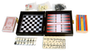 6-in-1 Travel Game Case - Chess, Checkers, Backgammon, Cribbage, Cards, Dominoes.