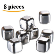 LEasylife Stainless Steel Whiskey Stones, Reusable Ice Cubes Chilling Stones Rocks for Wine, Beer, Beverage, ( Set of 8, Rubber Tip Tongs, Ice Tray with Lid