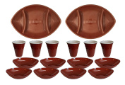 Set of 16 Piece Plastic Football Shaped Serving Set – 2 Trays, 8 Bowls, 6 Cups