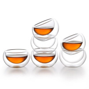 Zen Room Double Wall Glass, Borosilicate Glass Tea Cups 60ml, Set of 6/Insulated Thermal & Heat Resistant Design
