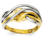 14k White And Yellow Gold Two-tone Wave Ring