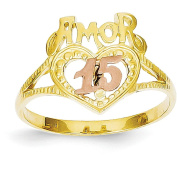 14k White And Yellow Gold Two-Tone Amor 15 Heart Ring
