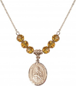 Gold Plated Necklace with 6mm Topaz Birthstone Beads & Saint Fidelis Charm.