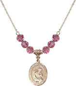 Gold Plated Necklace with 6mm Rose Birthstone Beads & Blessed Herman the Cripple Charm.