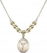 Gold Plated Necklace with 6mm Gold Filled Beads & Saint Christopher/Cheerleading Charm.