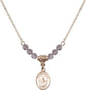 Gold Plated Necklace with Light Amethyst Birthstone Beads & Saint Medard of Noyon Charm.