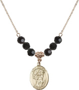 Gold Plated Necklace with 6mm Jet Birthstone Beads & Saint Boniface Charm.