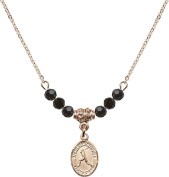 Gold Plated Necklace with Jet Birthstone Beads & Saint Christopher/Baseball Charm.