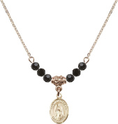 Gold Plated Necklace with Jet Birthstone Beads & Saint Juan Diego Charm.