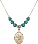 Gold Plated Necklace with 6mm Zircon Birthstone Beads & Madonna & Child Charm.