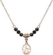 Gold Plated Necklace with Jet Birthstone Beads & Blessed Emilee Doultremont Charm.