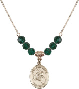Gold Plated Necklace with 6mm Emerald Birthstone Beads & Saint Christopher/Motorcycle Charm.