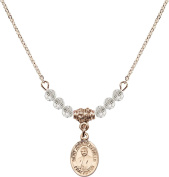 Gold Plated Necklace with Crystal Birthstone Beads & Saint Joseph Marello Charm.