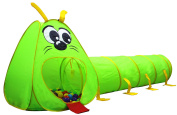 Kiddey Caterpillar Play Tunnel and Tent Combo (2-Piece Set) – Kids Crawling and Exploration Discovery Station for Early Learning and Muscle Development – Indoor/Outdoor Use – By Kiddey