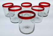 Mexican Glass Red Rim, Hand Blown, 350ml, set of 6