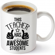 Muggies Teacher Has The Best Students Mug 330ml Funny Coffee Tea Cup. Unique Fun Christmas , Xmas, Birthday, Mother's Day Gifts For Classroom School Teacher Mom Wife