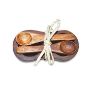 Pacific Merchants Acacia Wood Double Salt / Spice Bowl with Two Spoons