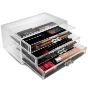 Sorbus® Acrylic Cosmetics Makeup and Jewellery Storage Case Display- 3 Large Drawers Space- Saving, . Acrylic Bathroom Case Great for Lipstick, Nail Polish, Brushes, Jewellery and More