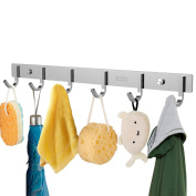 OUNONA Wall Coat Rack Coat Hooks Wall Mounted Stainless Steel Coat Rack with 6 Hooks,Hook Rack for Clothes or Keys,44cm