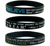 """BELIEVE, DREAM, & GREATNESS"" Inspirational Quote Silicone Bracelets, BULK 10-PACK - Black Silicone Rubber Wristbands w/ Famous Motivational Sayings"