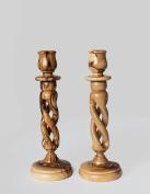 Handcarved Bethlehem Olive Wood Candlesticks Candle Holders 23cm by Bethlehem Gifts TM