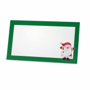 Santa Claus Green Christmas Place Cards - Flat or Tent - 10 Pack - White Blank Front with Border - Placement Table Name Seating Stationery Party Supplies - Occasion or Dinner Event