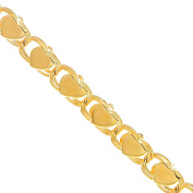 """JewelStop 10k Solid Yellow Gold 3 mm Heart Chain Anklet, Lobster Claw - 10"""""""