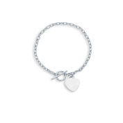14k White Gold 19cm Oval Heart Bracelet With Toggle clasp